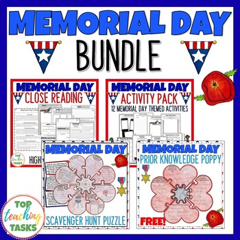 Memorial Bundle - Memorial Day Writing and Reading ELA Resources