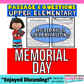 Memorial Day: Passage and Questions: Reading Comprehension Activity
