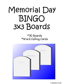 Memorial Day 3 by 3 BINGO!