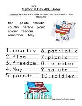 Memorial Day ABC Order Worksheet