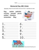 Memorial Day ABC Order Worksheet