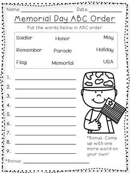 Memorial Day ABC order