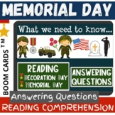 Memorial Day ANSWERING QUESTION Reading Comprehension FACT