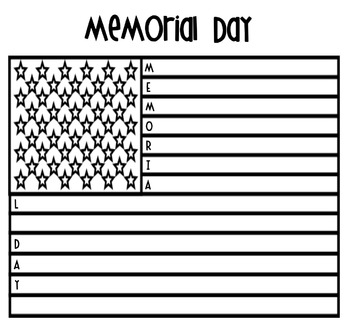 Memorial Day Acrostic Flag Poem
