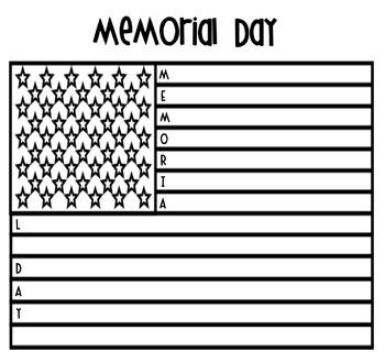 Memorial Day Acrostic Flag Poem