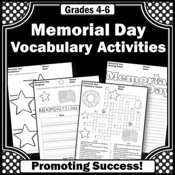 Memorial Day Activities, Memorial Day Writing, Memorial Day Word Search