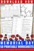 No Prep Memorial Day Worksheets