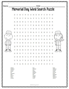 Memorial Day Activities - Word Search