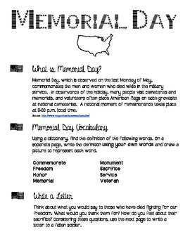 Memorial Day Activity - Black & White