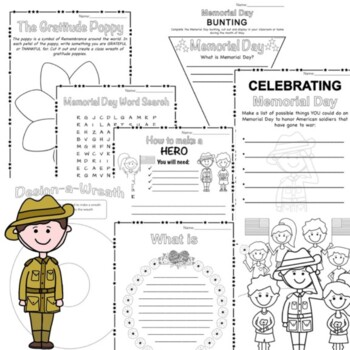 Memorial Day Activity Pack Grades 1 - 2