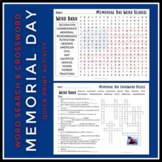 Memorial Day Activity | Word Search & Crossword Puzzle Set | Grades 4-6
