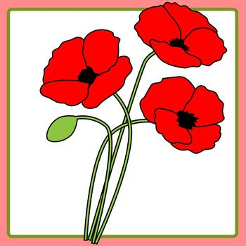 Memorial Day / Anzac Day Lest We Forget Red Poppies Clip Art Commercial Use