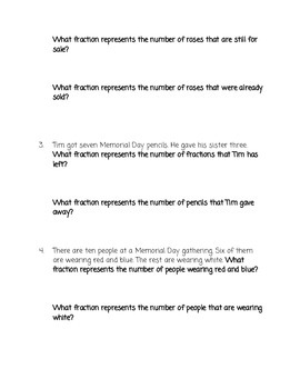 Memorial Day Basic Fraction Word Problems