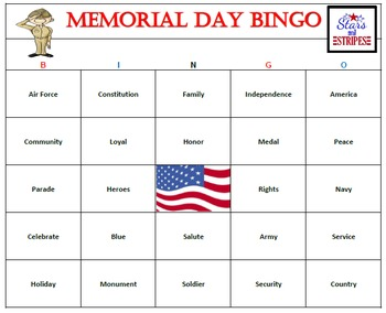 picture regarding Holiday Bingo Printable referred to as Memorial Working day Bingo Activity-Entertaining and Straightforward Patriotic Sport (60 Playing cards)