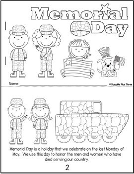 Memorial Day Book, Coloring Pages, & Writing Sheets, Reader, Color Sheets