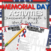 Middle School Memorial Day Activities: CROSSWORD & WORD SEARCH 6th 7th 8th