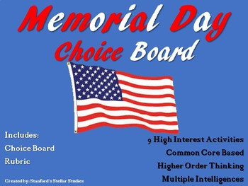Memorial Day Choice Board Activities Menu Project with Rubric Tic Tac Toe