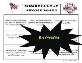 Memorial Day CHOICE BOARD BUNDLE Menu No Prep 6 Activity Pages Rubric