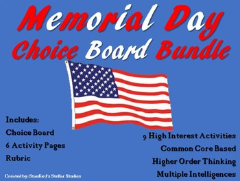 Memorial Day Choice Board Bundle Menu with 6 Activity Page