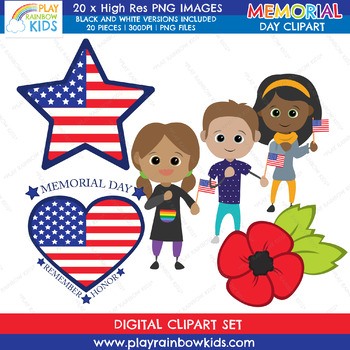 Memorial Day Clipart {Play Rainbow Kids}