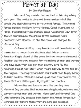 Close Reading Passage & Activities for Memorial Day
