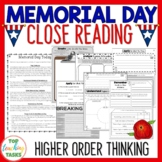 Memorial Day Close Reading Comprehension Texts Higher Orde