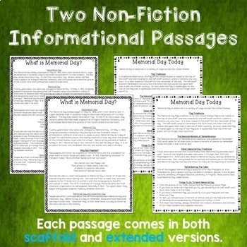 Memorial Day Close Reading Comprehension Passages and Questions