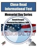 Memorial Day Close Reading Ronald Reagan Address 1986