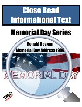 Memorial Day Close Reading Ronald Reagan Address 1986