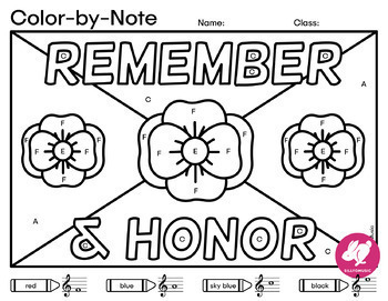 Memorial Day Color-By-Music Notes