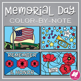 Memorial Day Color-By-Music Notes   Veteran's Day Color-by-Note