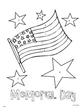 Memorial Day Color by Number (Editable Version)