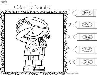 Memorial Day Color by Number- Number Identification