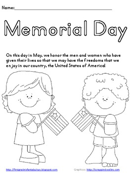 Memorial Day Coloring Page {FREEBIE} by First Grade is Fantabulous