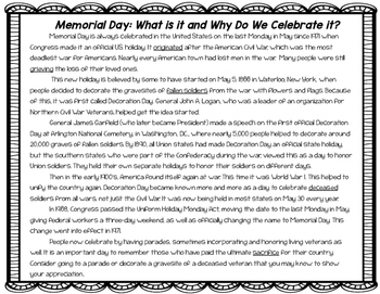 Memorial Day Comprehension Freebie!