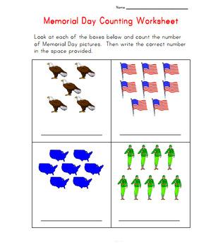 Memorial Day Counting Worksheet