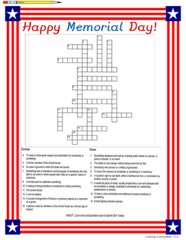 Memorial Day Crossword Puzzle