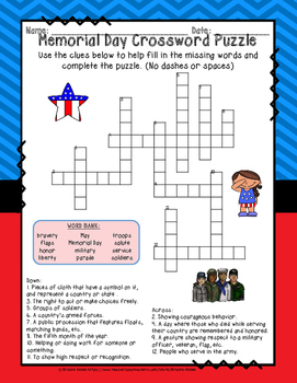 Memorial Day Crossword Puzzles by The Education Warehouse ...