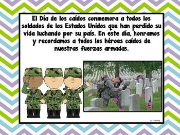 Memorial Day ** Día de los caídos ** in Spanish