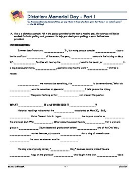 Memorial Day Dictation Worksheets