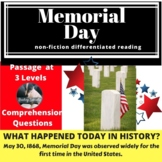 Memorial Day Differentiated Reading Comprehension Passage May 30