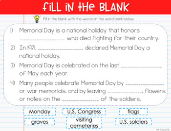 Memorial Day Digital Activities