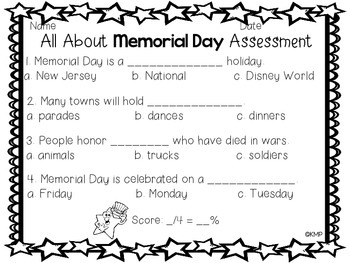 Memorial Day Emergent Reader with Quick Recall Assessment {Freebie}