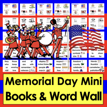 Memorial Day Activities: Readers - 3 Reading Levels + Illustrated Vocab Cards