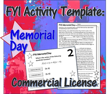 Memorial Day FYI Activity Template Commercial License