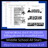 Memorial Day - Falling Phrases - Word Scramble Grades 8-12