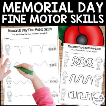 Memorial Day Fine Motor Skills Worksheets