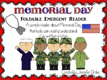 Memorial Day Foldable Emergent Reader ~Color & B&W~ CC Aligned!