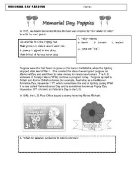 Memorial Day Civil War World War I In Flanders Fields Readings