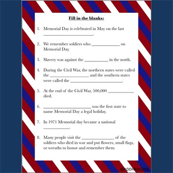 Memorial Day History: Reading Passage and Activities NO PREP